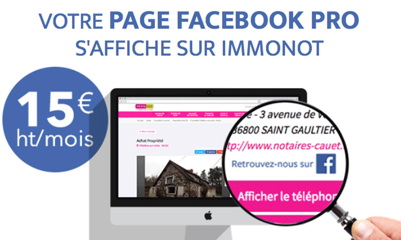 Vous êtes client Immonot et vous avez une page Facebook Pro ? Elle peut désormais s'afficher sur le site...